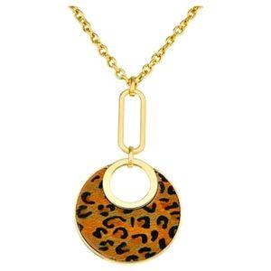 "R.J. Graziano 36"" Leopard Print Drop Gold Necklace"